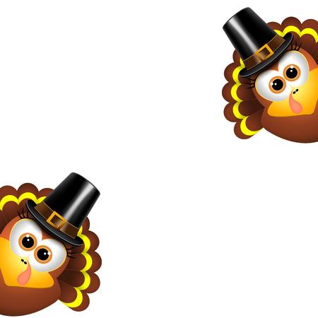 turkey: Dos pavos divertidos en un fondo blanco. Vectores