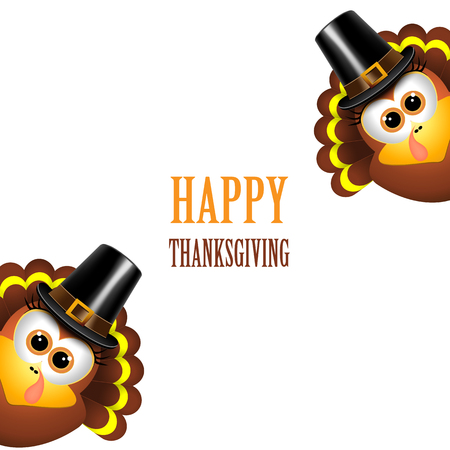 Happy Thanksgiving with turkey on a white background. Ilustrace