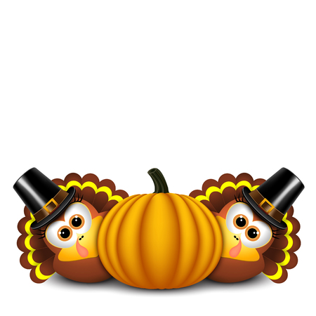 Thanksgiving turkeys with pilgrim hat and pumpkin.