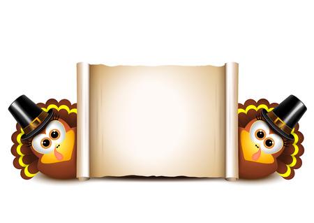추수 감사절 카드 디자인 템플릿입니다. 흰색 배경에 칠면조입니다.