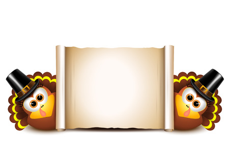 Thanksgiving Card Design Template. Turkeys on a white background.