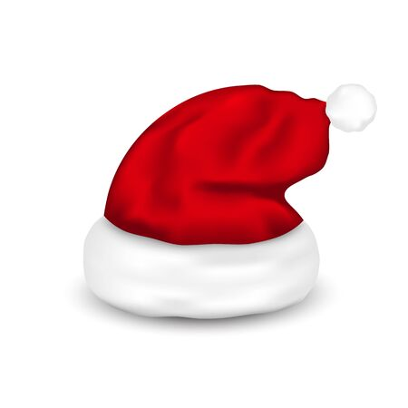hat: Hat Santa Claus, Isolated On White Background.  Illustration