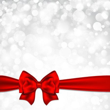 silver ribbon: Shiny silver starry christmas background with red bow.