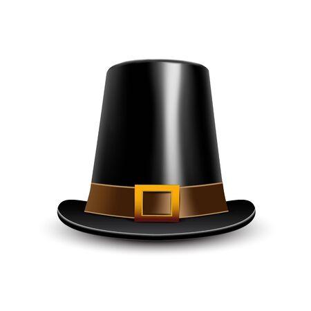 pilgrim hat: Pilgrim hat. Thanksgiving symbol on a white background