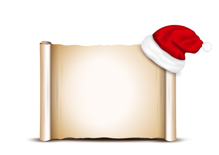 santa claus hats: Blank Paper With Santa Hat on a white background