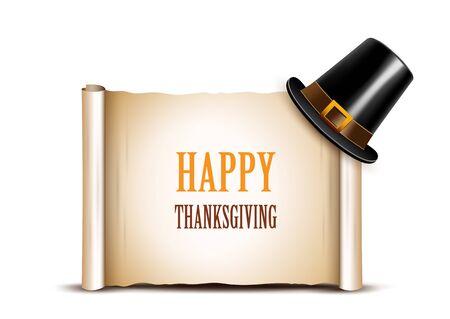 pilgrim hat: Thanksgiving banner with pilgrim hat on a white background