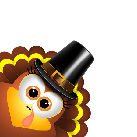 Cartoon turkey in a pilgrim hat on a white background Çizim