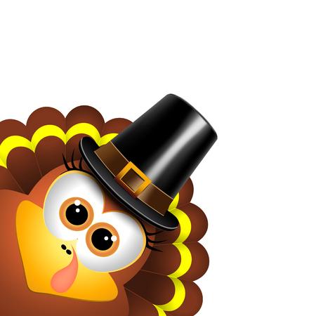 turkey: Pavo de la historieta en un sombrero de peregrino en un fondo blanco Vectores