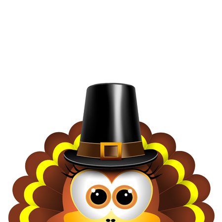 Cartoon turkey in a pilgrim hat. Card for Thanksgiving Day. Vector.