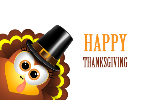 Card for Thanksgiving Day. Turkey in a pilgrim hat. Vector. Vettoriali
