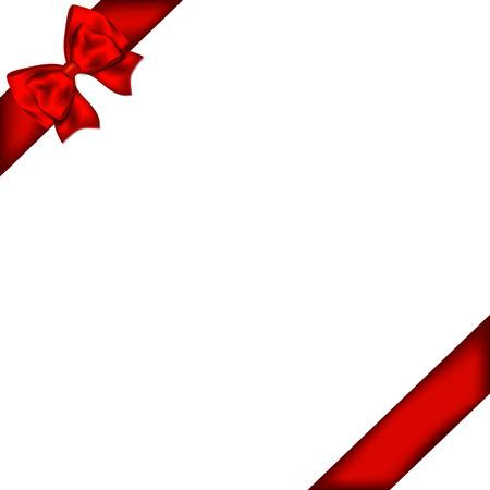 cajas navide�as: Arco de regalo rojo con la cinta. Ilustraci�n del vector.