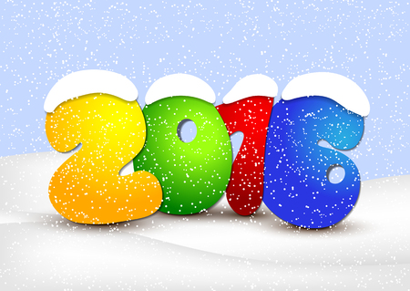 Design New Year a snowy background.  Vector illustration.