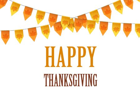 happy feast: Happy Thanksgiving Day card with bunting flags.  Vector illustration.