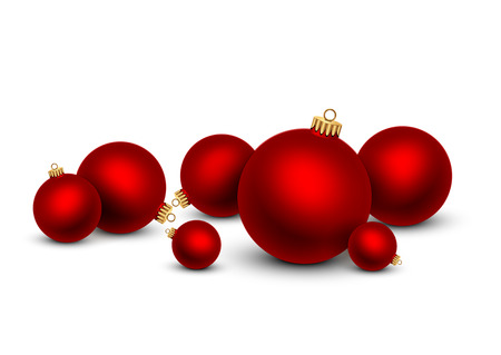 Red Christmas balls on white background. Vector illustration. 矢量图像