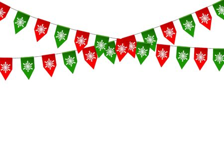 bunting flag: Christmas bunting flag isolated on white background. Vector illustration.