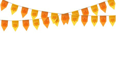 thanksgiving meal: Autumn buntings garlands isolated on white background. Vector illustration.