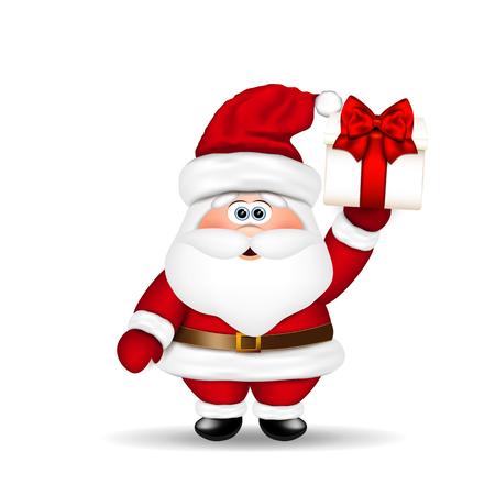 weihnachtsmann lustig: Santa Claus mit Weihnachts-Geschenk in der Hand.