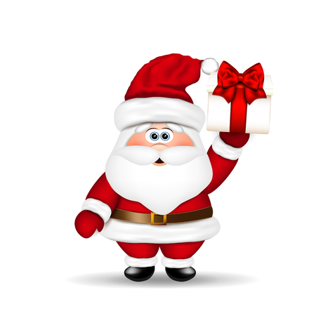 claus: Santa Claus with Christmas gift in hand. Illustration