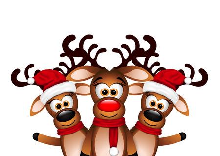 3 幸せなトナカイのクリスマス カード。