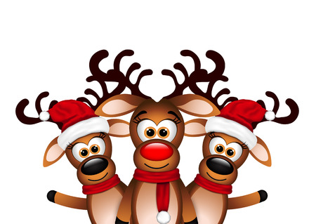 Christmas Card with three happy reindeer.