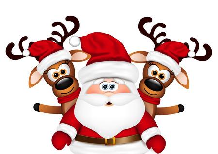 Weihnachtskarte Weihnachtsmann und zwei Rentiere. Standard-Bild - 49066217