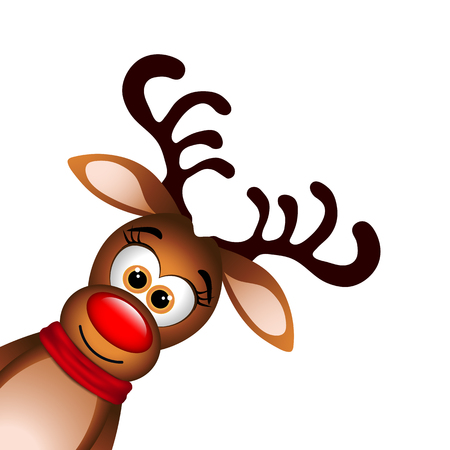 Funny Reindeer on white background.