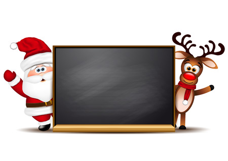 Christmas background Rudolph reindeer and Santa Claus.  Illustration