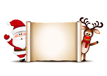 Ontwerp van de kerstkaart sjabloon. Kerstman en zijn rendieren. Stock Illustratie