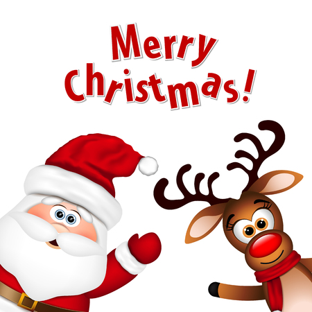 Funny Santa and Reindeer on a white background. Иллюстрация