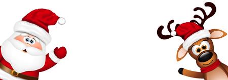 weihnachtsmann lustig: Lustige Sankt und Ren auf einem weißen Hintergrund.