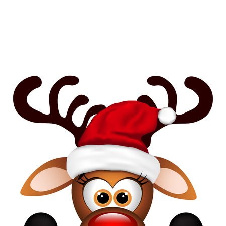 Funny Christmas Reindeer  on a white background. Vettoriali