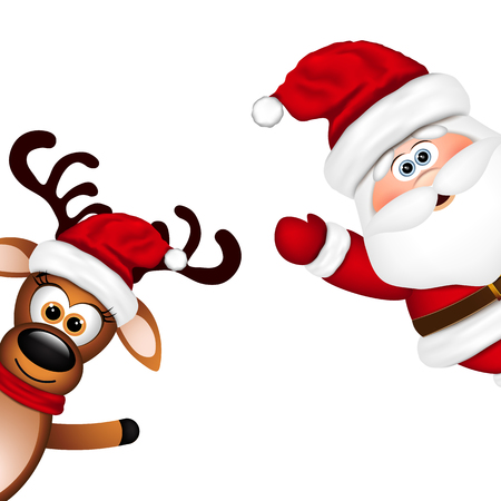 happy new year cartoon: Funny Santa and Reindeer on white background.