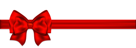 Red ribbon with bow on white background.  Иллюстрация