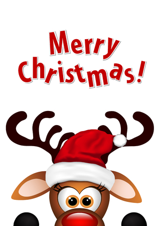 白い背景に面白いクリスマスのトナカイ。
