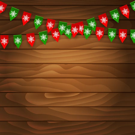bunting flag: Bunting flag on wooden background.