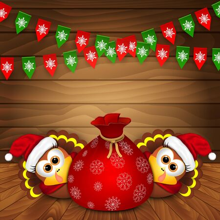 background brown: Christmas card with funny turkeys. Vector illustration.