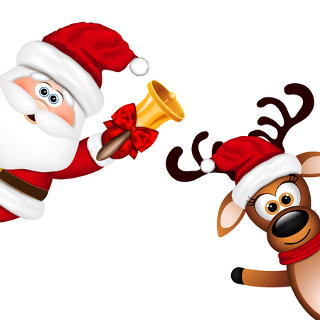 Funny Santa and Reindeer on white background. Vector illustration.