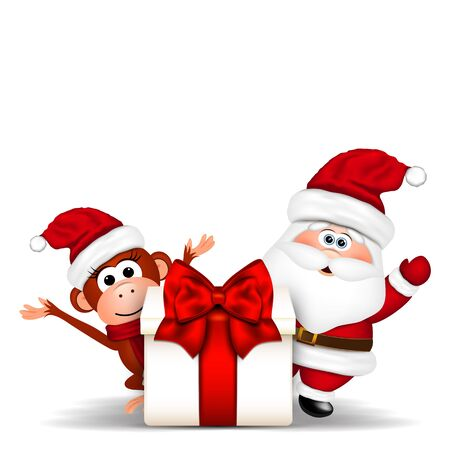 clause: Santa Clause and Christmas Monkey on white background. Vector illustration.