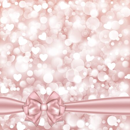 pink wallpaper: Shiny pink background with bow. Vector illustration.