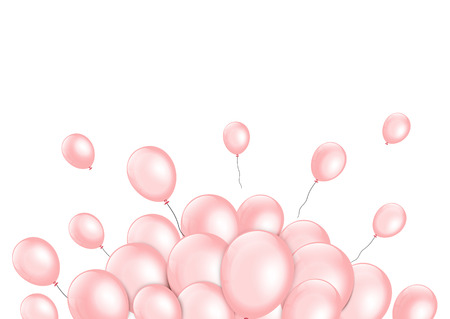 event party festive: Pink balloons on white background. Vector illustration.