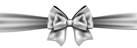 Silver bow on white background. Vector illustration. Illustration