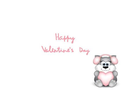 valentine cat: Funny valentine cat on white background. Vector illustration.