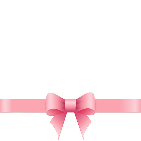 Pink bow on white background. Vector illustration.