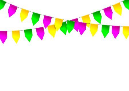 venezia: Mardi Gras party bunting flag. Vector illustration.