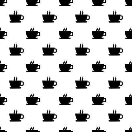 luncheon: Seamless texture with a cup of coffee. Vector illustration.
