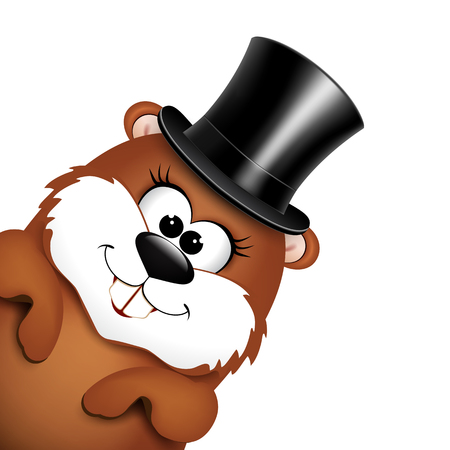 Funny marmot in hat on a white background. illustration.