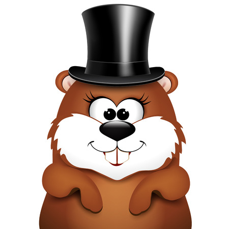 Postcard to Groundhog Day.Marmot on a white background.  illustration.