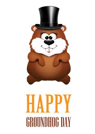 Happy Groundhog Day greeting Cards. illustration.  イラスト・ベクター素材