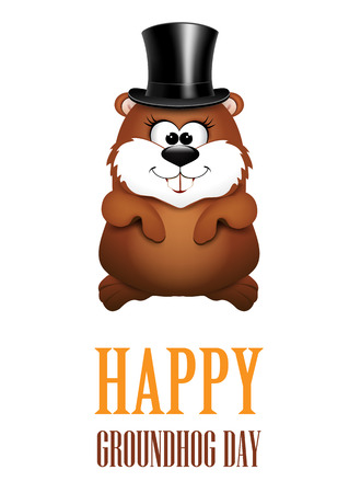 Happy Groundhog Day greeting Cards. illustration. Ilustrace