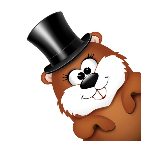 Groundhog Day greeting card with cheerful marmot.  illustration.